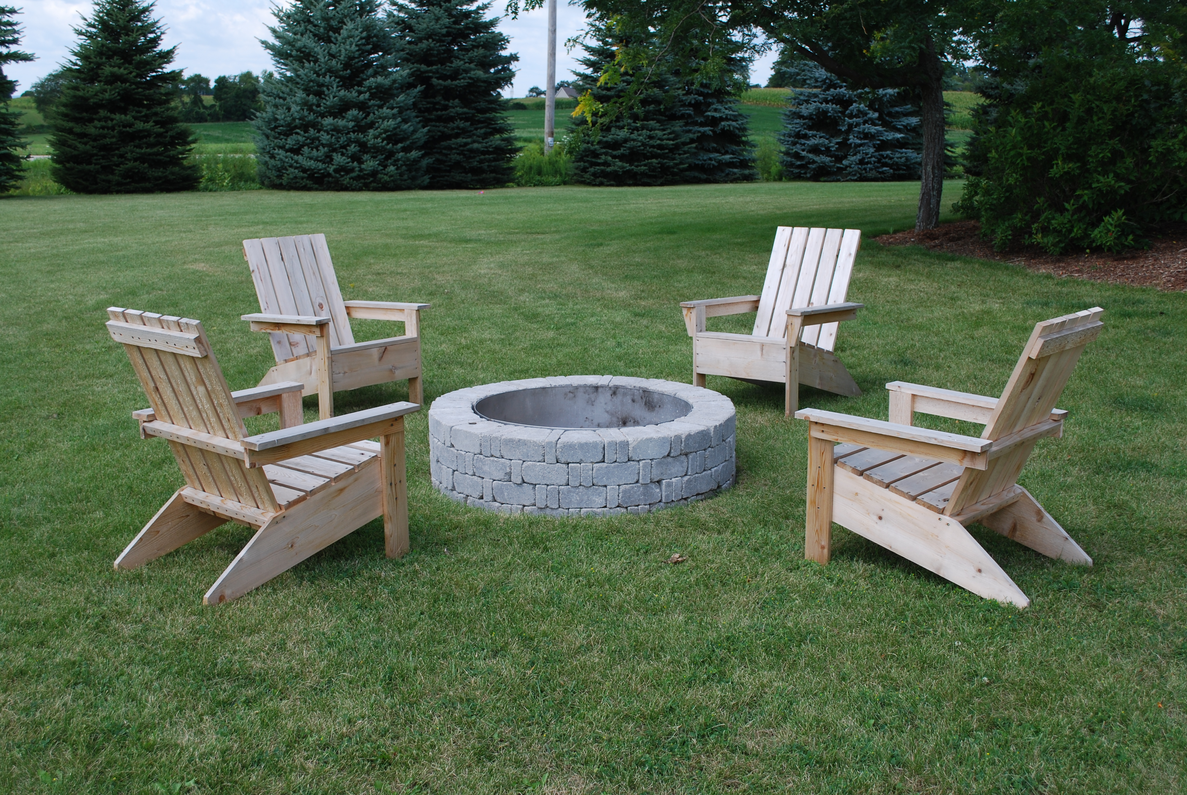 Unique Adirondack Chairs Around Fire Pit Summer Mountain View